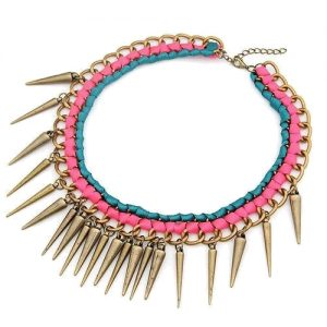 Statement ketting color spikes-0