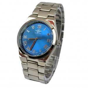 Michael John horloge zilver blauw