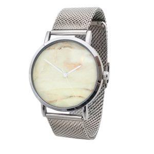 ernest-horloge-zilver-marble-roze