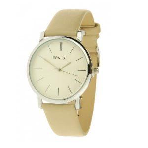 ernest horloge fashion creme zilver